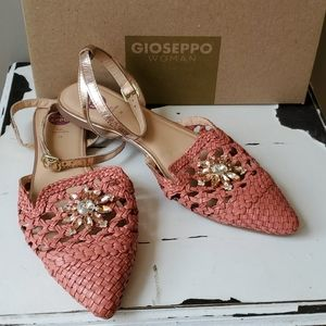 Anthropologie Gioseppo Coral Woven Flats